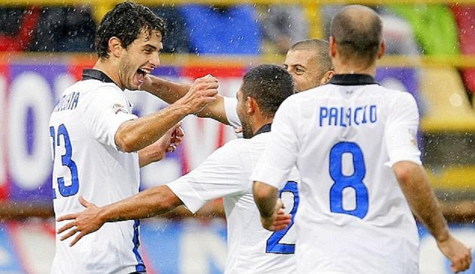 Inter Milan's Ranocchia celebrates with his team mates after scoring against Bologna during their Italian Serie A soccer match in Bologna