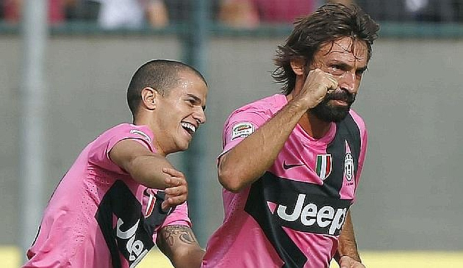 Pirlo celebrates with his teammate Giovinco during their Italian Serie A soccer match against Siena at Montepaschi Arena stadium in Siena